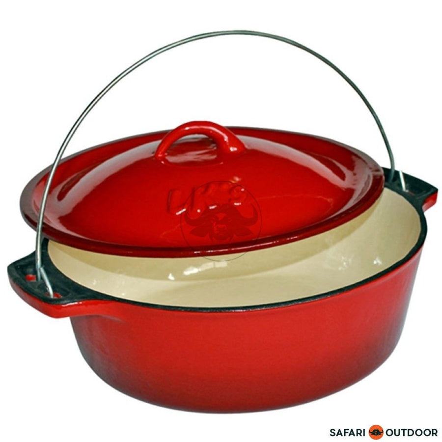 LK POT BAKE 5L RED ENAMEL #12 - SAFARI OUTDOOR