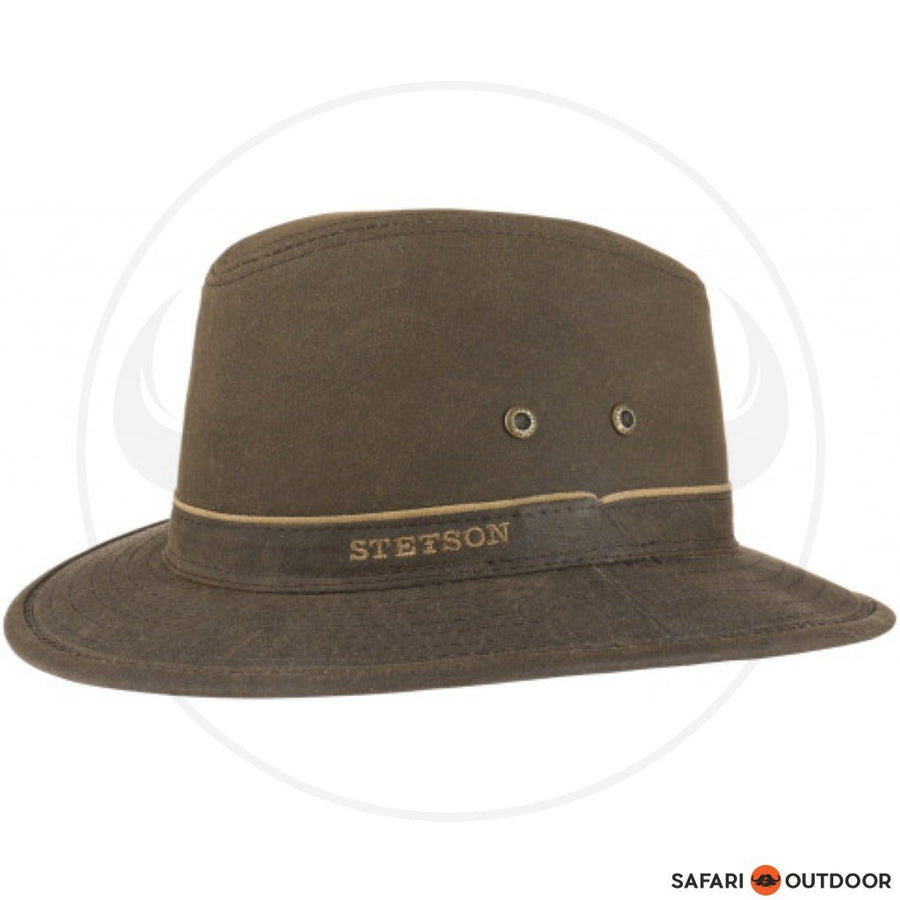 STETSON HAT TRAVELLER WAXED COTTON -BROWN