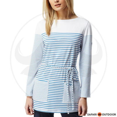CRAGHOPPERS LONG SLEEVE LADIES NOSILIFE IRIS TUNIC - WHITE/BLUE