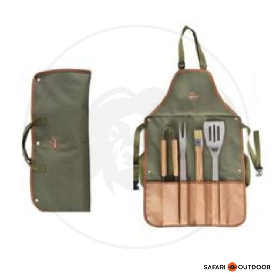 BRAAI SET WITH APRON OLIVE
