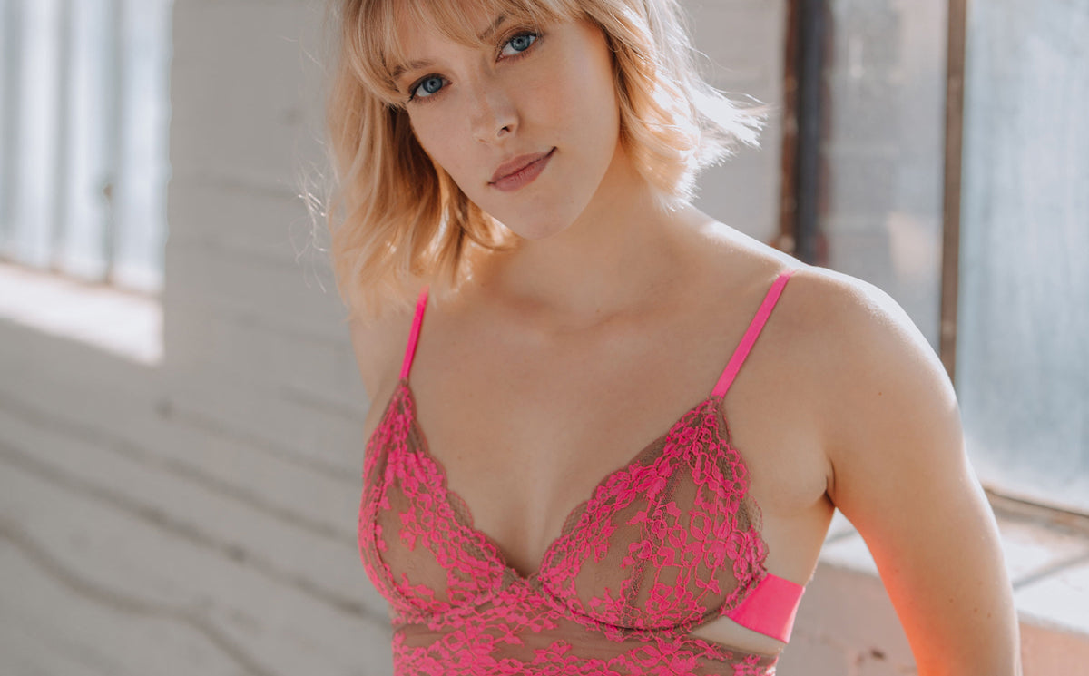 Monique Morin Lingerie image featuring Wild Lace Bra in pink color