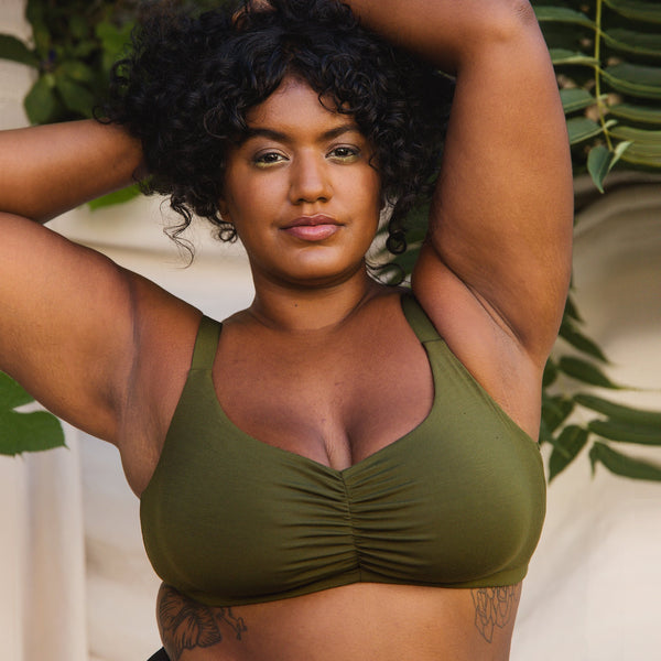 Caress Sweetheart Bralette Avocado - Monique Morin Lingerie