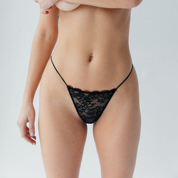 Wild Lace Micro-G Black - Monique Morin Lingerie
