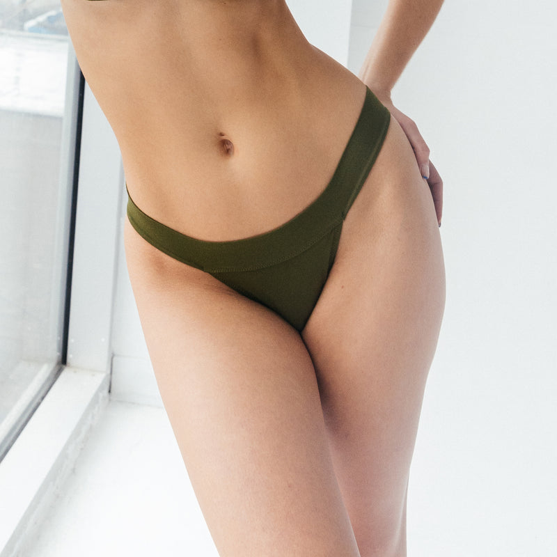 Caress banded bikini Avocado - Monique Morin
