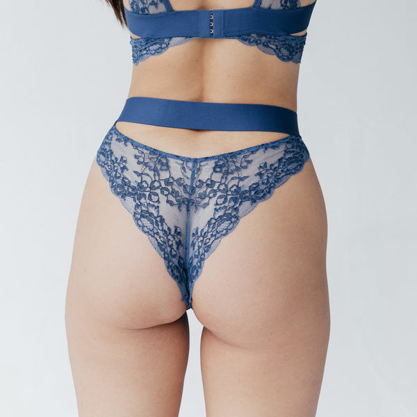 Wild Lace Hi Leg Dark Denim Blue - Monique Morin Lingerie