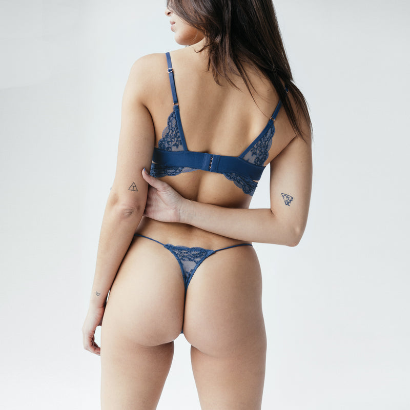 Wild Lace Micro-G Dark Denim Blue - Monique Morin Lingerie