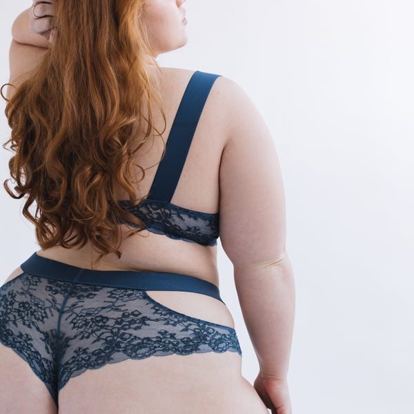 Wild Lace Plunge Bralette Dark Denim Blue - Monique Morin Lingerie