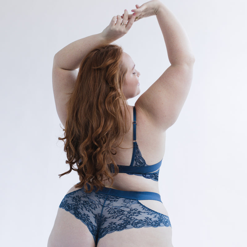 Wild Lace Long Line Bra Dark Denim Blue - Monique Morin