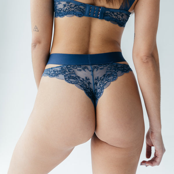 Wild Cheeky Panty Dark Denim Blue - Monique Morin Lingerie