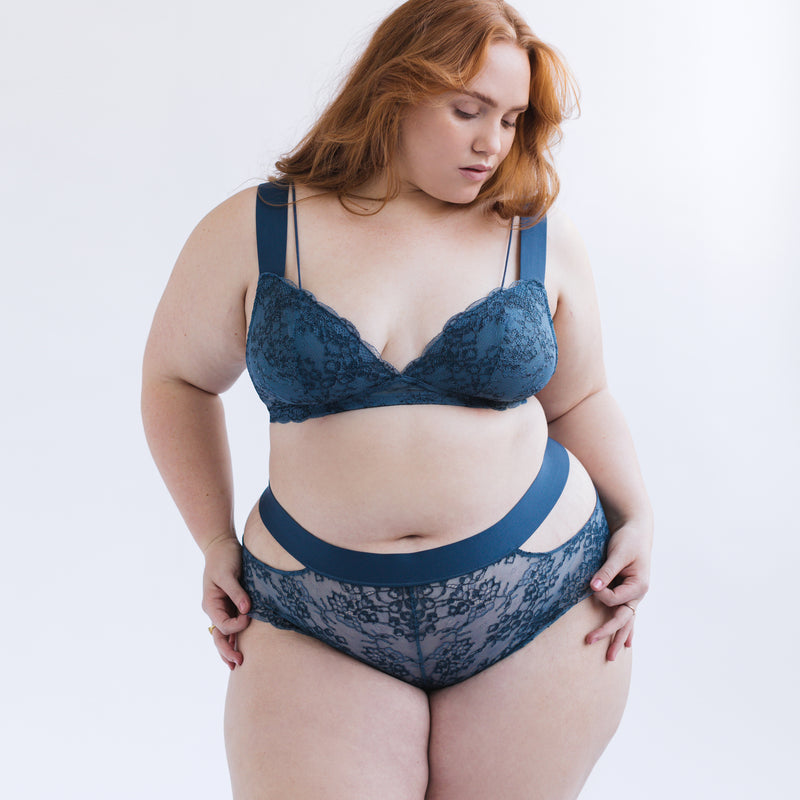 Wild Lace Plunge Bralette Dark Denim Blue - Monique Morin