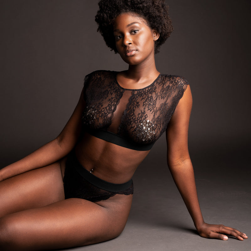 Wild Lace Bra Top Black - Monique Morin