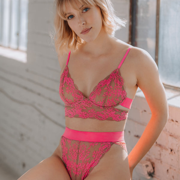 Wild Lace Hi Leg Pink - Monique Morin