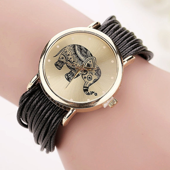 Leather Elephant Watch Bracelet