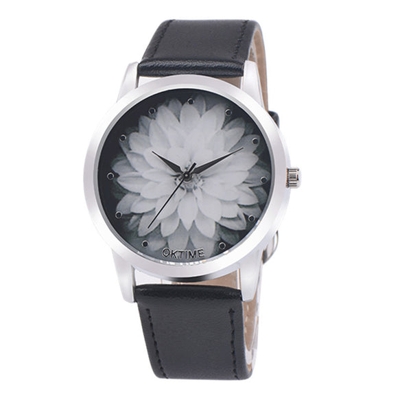Flower Watch with a Simple Leather Band