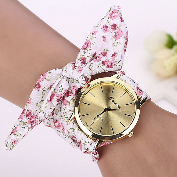 Floral Strap Watch with Gold Face