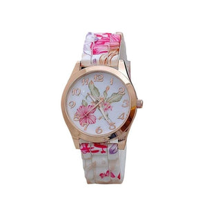 Vintage Silicone Printed Flower Watch