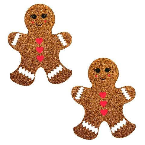 Glitter Gingerbread Man Nipple Pasties