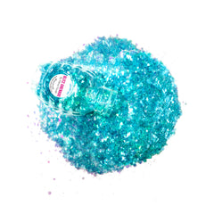 Lullaby Sky Blacklight UV Cosmetic Glitter Glitz Grenade Keychain in Aloe Gel