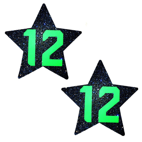 Blue Glitter NO 12 UV Seahawks Starry Nights Nipzitx Pasties, Sport Nipple Pasties - NevaNude