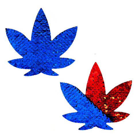 American Spirit Blue to Red Flip Sequins Dope AF Weed Leaf Pasties, Nipple Pasties - NevaNude