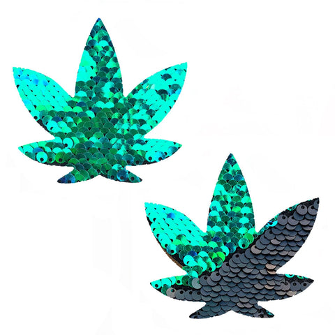 Ariel Green to Black Flip Sequin Gold Dope AF Weed Leaf Pasties, Weed Leaf Pasties - NevaNude