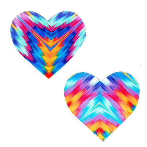 Aztec Rave Heart UV Nipztix Pasties, Heart Nipple Pasties - NevaNude