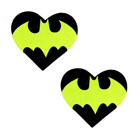 Blacklight Bat Black Glitter I Heart U Pasties, Halloween Nipple Pasties - NevaNude