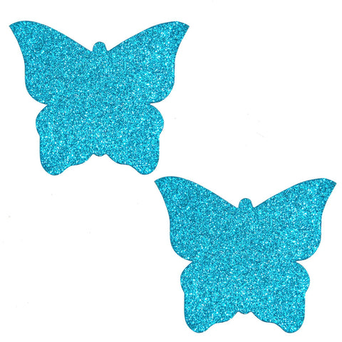 Bowie Blue Glitter Butterfly Pasties, Butterfly Pasties - NevaNude