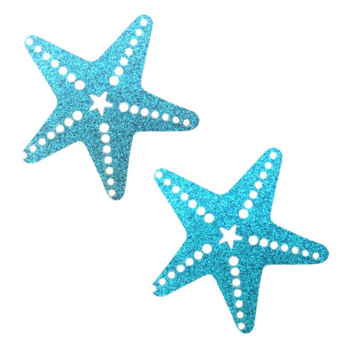 Bowie Blue Glitter Sexy Starfish Pasties, Starfish - NevaNude
