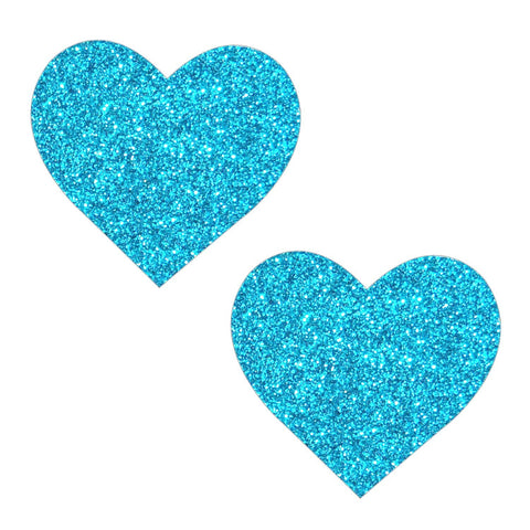 Bowie Blue Glitter Heart Nipztix Pasties, Heart Nipple Pasties - NevaNude