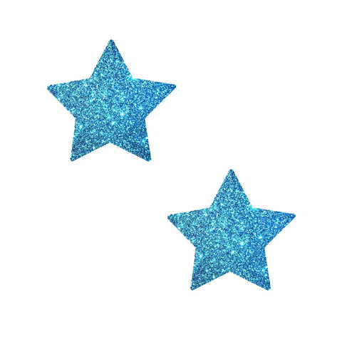 Small blue glitter nipple pasties, Neva Nude