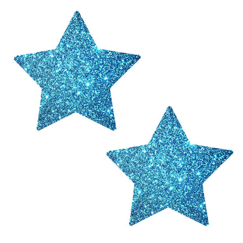 Bowie Blue Glitter Starry Nights Pasties, Star Pasties - NevaNude