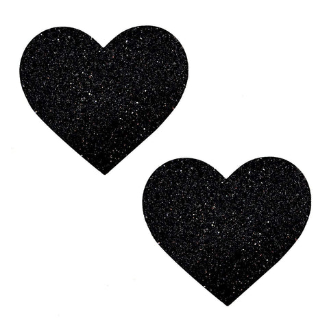 Black Malice Glitter Heart Nipztix Pasties, Heart Nipple Pasties - NevaNude