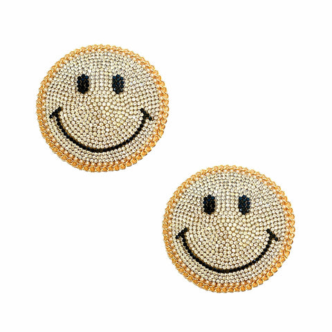 Smile On Gold Chain Crystal Face Reusable Silicone Nipztix