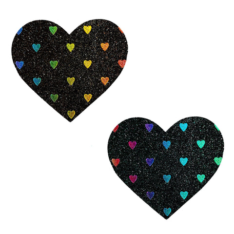 Black Rainbow Sheep Glitter I Heart U Nipztix