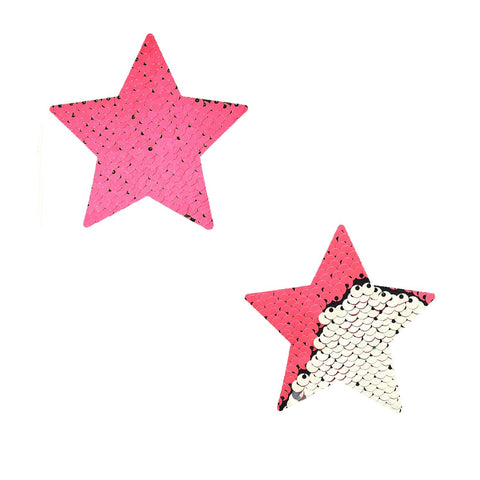 Bitchin' NEON Pink Silver Flip Sequin Starry Nights BodiStix 6PK, Star BodiStix - NevaNude