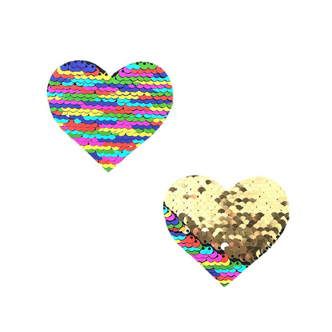 Funfetti Multicolor to Gold Flip Sequin I Heart BodiStix 6PK, Heart BodiStix - NevaNude