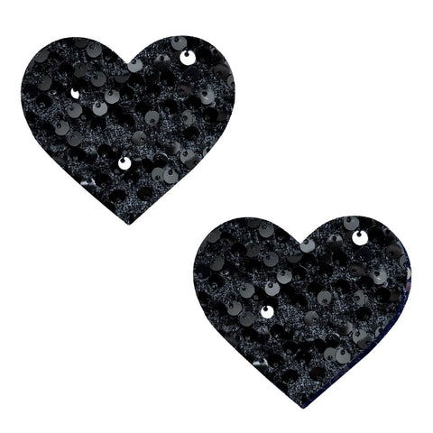 Black Sequin Velvet Crush I Heart U Pasties, Heart Nipple Pasties - NevaNude