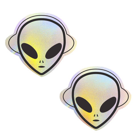 Kanye The Alien Super Holographic Nipztix Pasties, Rave Nipple Pasties - NevaNude