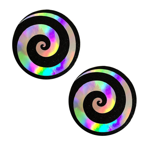 Care Bare Stare Holographic Spiral on Black Malice Glitter Nipztix Pasties, Spiral Nipple Pasties - NevaNude