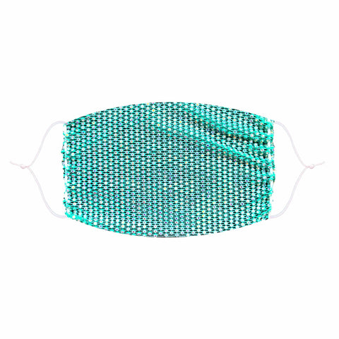 Perfect Illuzion Teal Mesh Jewel Face Mask With Adjustable Loops