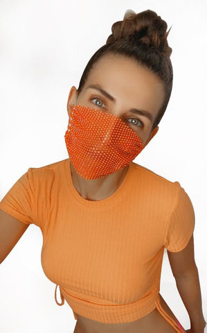 Hey Gurl Orange Neon Mesh Jewel Face Mask With Adjustable Loops