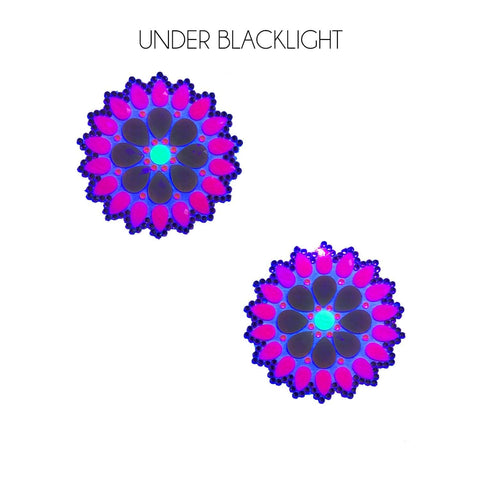 Blacklight crystal jewel nipple covers, Neva Nude