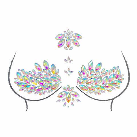 Eve Clear Iridescent Sticker Top Crystal Jewel Nipztix Pasties