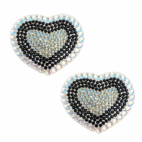 French Maid Black Clear Crystal Heart Jewel Nipztix Pasties