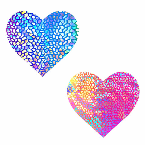 Rainbow Dino Blacklight Holographic Heart Nipztix