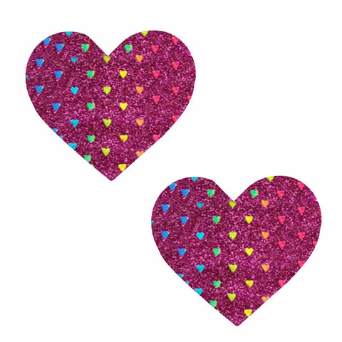 Dark Pink Rainbow Sheep Glitter I Heart U Nipztix