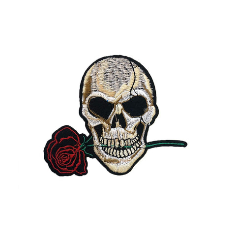 Skull Rose Iron On Patch Sticker, FabStix
