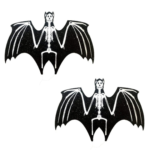 Freaking Awesome Glitter Blacklight Glow Skeletor Bat Nipztix, Halloween Nipple Pasties - NevaNude