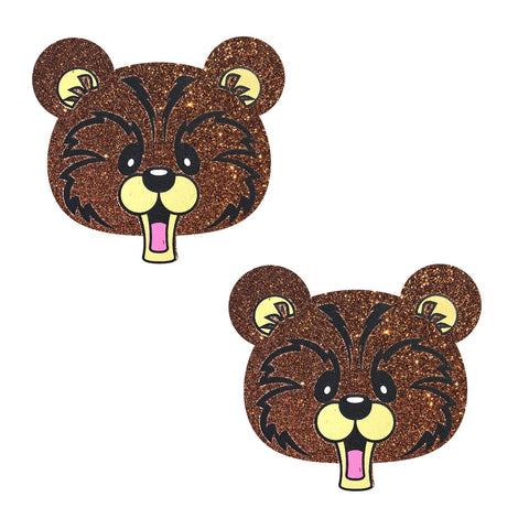 Grizzo Bear Glitter Nipztix Pasties, Animal Face Nipple Pasties - NevaNude